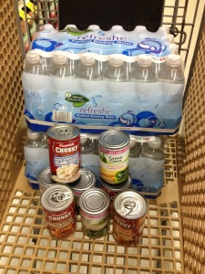 canned food and water