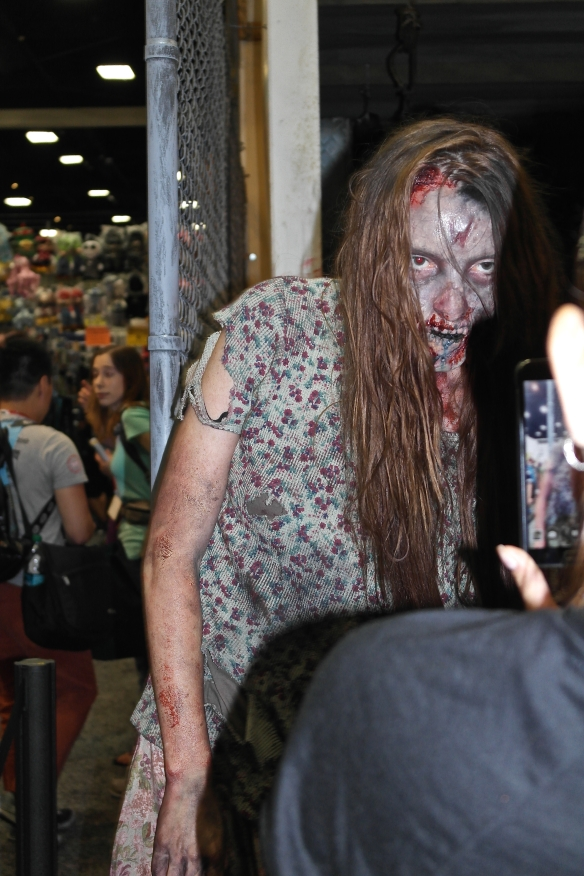 The Walking Dead booth with real live walkers!